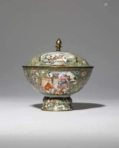 A RARE CHINESE ENAMEL EUROPEAN SUBJECT STEM BOWL AND COVER QIANLONG 1736-95 The exterior of the bowl