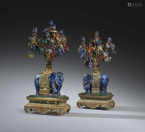 A PAIR OF LARGE AND IMPOSING CHINESE LAPIS LAZULI MODELS OF ELEPHANTS QING DYNASTY Each elephant