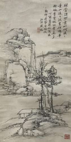DAI JIAN (19TH CENTURY) LANDSCAPE A Chinese scroll painting, ink on paper, dated the dingyou year (