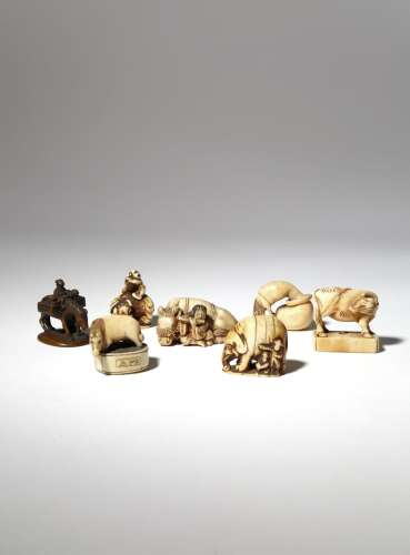 SEVEN JAPANESE IVORY NETSUKE EDO AND MEIJI PERIOD, 18TH AND 19TH CENTURY One carved as a woman