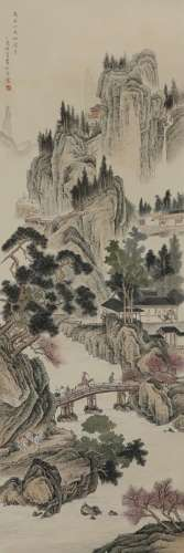 LU XIAOMAN (1903-65) LANDSCAPE A Chinese scroll painting, ink and colour on paper, inscribed and