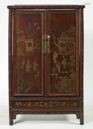 Small carved and lacquered wooden two door cabinet…