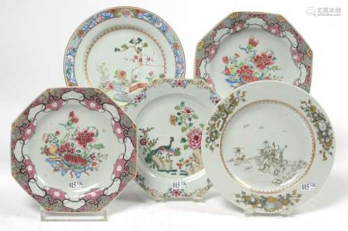 Set of five Chinese porcelain plates including fou…