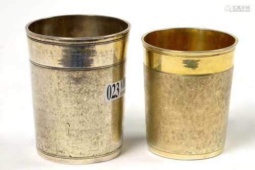 Two silver cups with German hallmarks. The biggest…