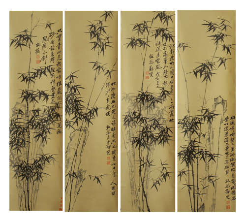 FOUR HANGING PAINTING SCROLLS OF BAMBOO BY ZHENGBANQIAO