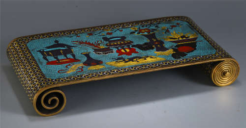 A CHINESE CLOISONNE JUANJI TABLE ITEM