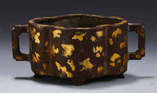 A CHINESE INLAID GILT DOUBLE HANDLE CENSER