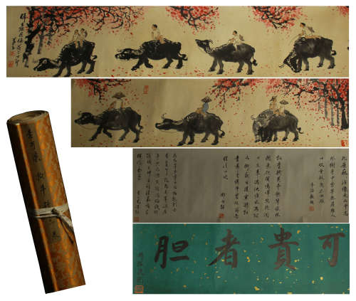 CHINESE SCROLL PAINTING GRAZE CATTLE TU AND CALLIGRAPHIC BY LIKEQI