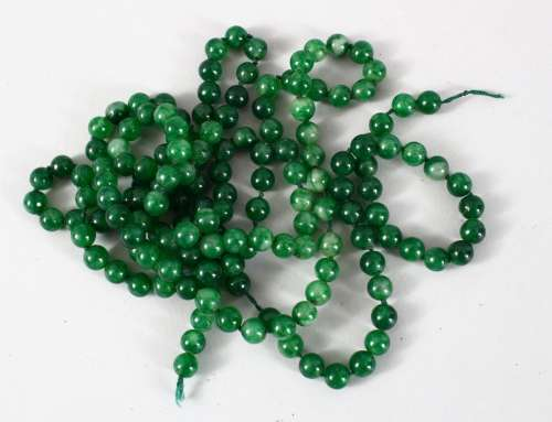 A GOOD SET OF CHINESE JADE / HARD STONE BEAD NECKLACE, Approx 135cm