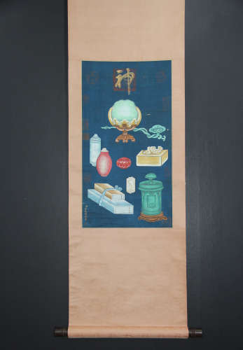 A CHINESE PAINTING AND CALLIGRAPHY SCROLL, JIANG TINGXI MARK