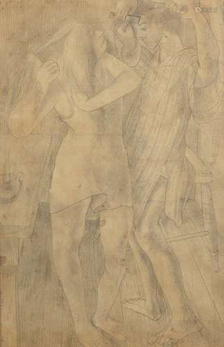 Sir Stanley Spencer R.A. (British, 1891-1959) Brushing Hair, Stanley and Daphne 40.2 x 27.2 cm. (...