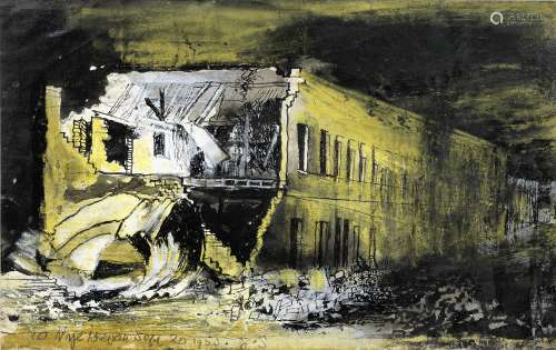 Graham Sutherland O.M. (British, 1903-1980) East End View, 10 Nye Bevan Street 12.5 x 20.5 cm (5 ...