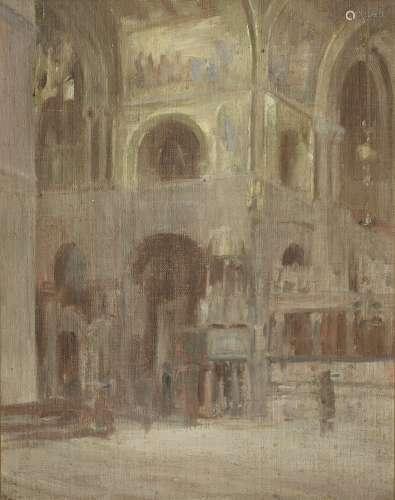 Walter Richard Sickert A.R.A. (British, 1860-1942) Study for Interior of St Mark's Venice 34.5 x ...
