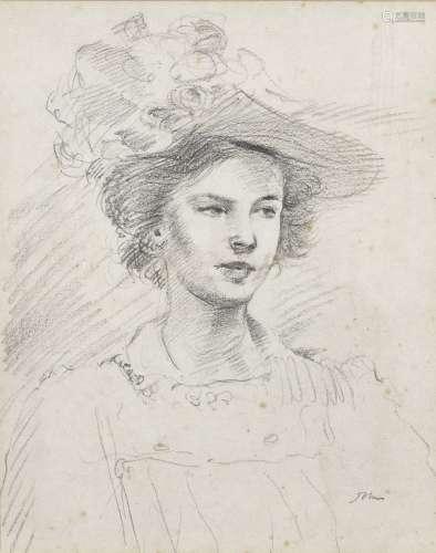 Augustus John O.M., R.A. (British, 1878-1961) Portrait of Ida Nettleship 25.3 x 20 cm. (10 x 8 in...