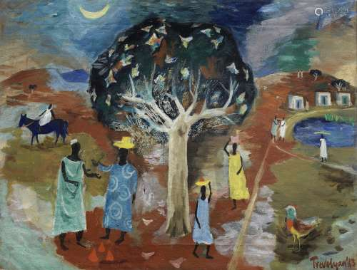 Julian Trevelyan R.A. (British, 1910-1988) Under the Cotton Tree 38.7 x 51 cm. (15 1/4 x 20 1/8 in.)