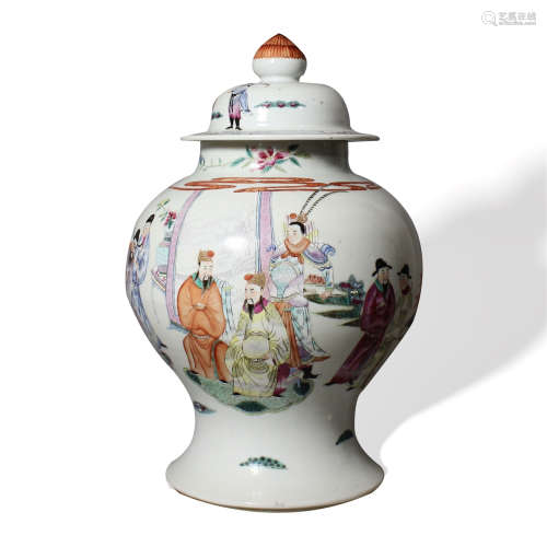 A Famille-Rose 'Figure' General Jar with Lid, 18th-19th Century18-19世纪 粉彩人物故事图将军盖罐