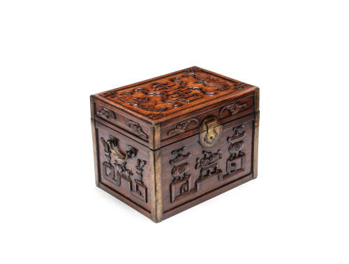 A huanghuali carved storage box and hinged cover 19th century