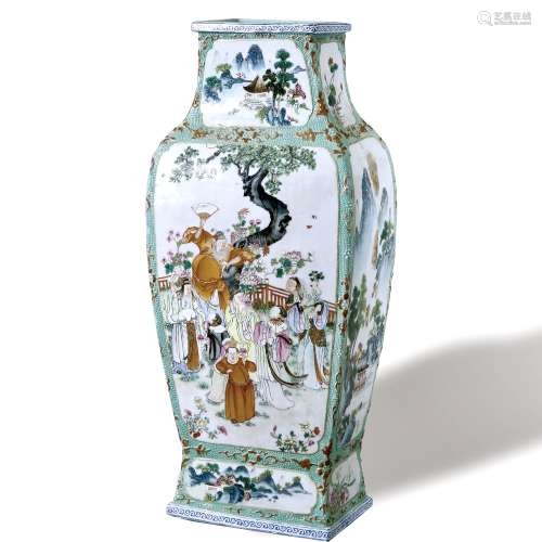 A Famille-Rose 'Figure' Square Vase, Mark and period of  Qianlong, Qing dynasty. 清乾隆 粉彩人物故事四方瓶 大清乾隆年制款