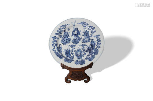 A Set of Five Blue and White 'Immortals' Dishes, Xuande Mark,Kangxi Period, Qing Dynasty清康熙 青花八仙碟 一组  大明宣德年制款(五件)