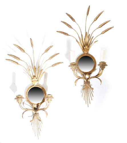 A PAIR OF GILT METAL WHEATSHEAF WALL LIGHTS LATE 20TH CENTURY each with a mirrored back and with