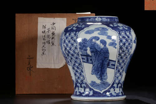 A BLUE&WHITE GLAZE JAR WITH FIGURE PATTERN
