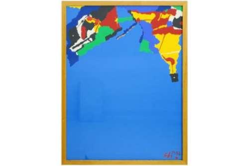 SALAZAR LUIS (° 1956) schilderij in acryl op paneel :