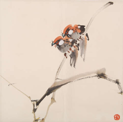 A Chinese BirdS Painting, Zhao Shao'ang Mark