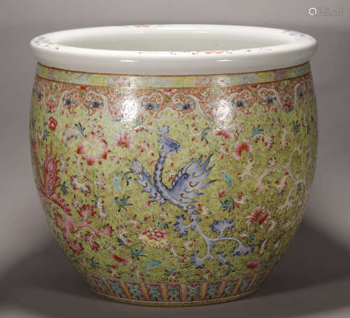 Qing Dynasty -  Colored Jar (Repaired)