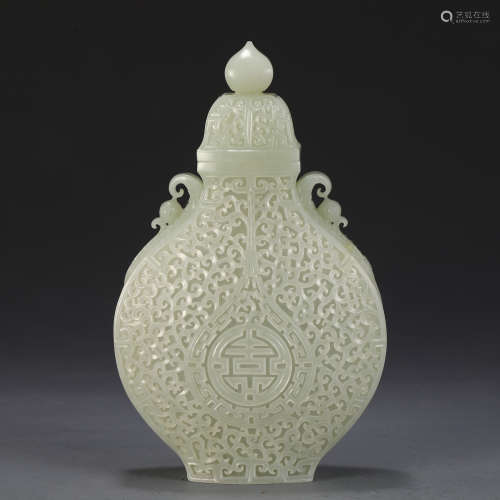AN UNUSUAL CHINESE WHITE JADE CARVED MOON FLASK VASE