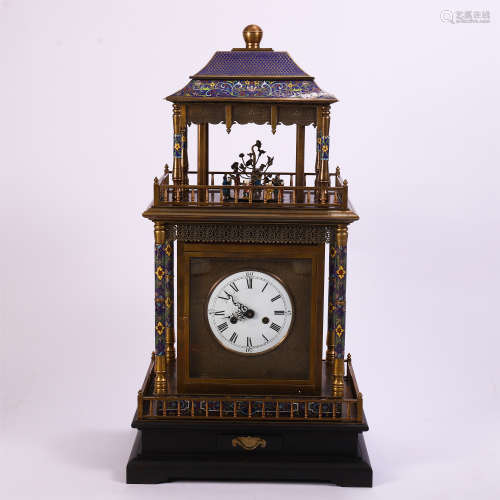 CHINESE CLOISONNE MANTLE CLOCK BY STRONG