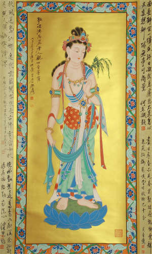 CHINESE PAINTING OF STANDING AVALOKITESVARA ON LOTUS BY ZHANG DAQIAN