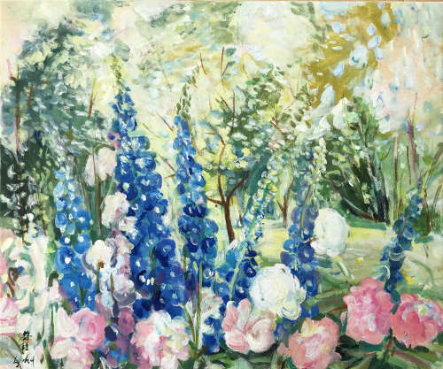 CHINESE OIL PAINTING OF RURAL FLOWER BLOSSOMMING