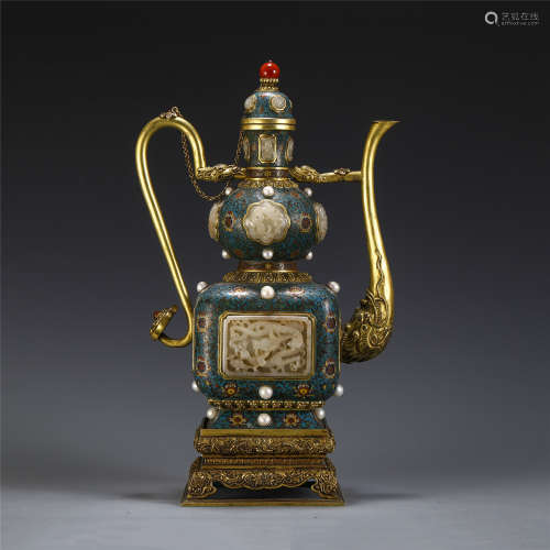 DELICATE CHINESE KETTLE CLOISONNE PEARL JADE  DECORATION