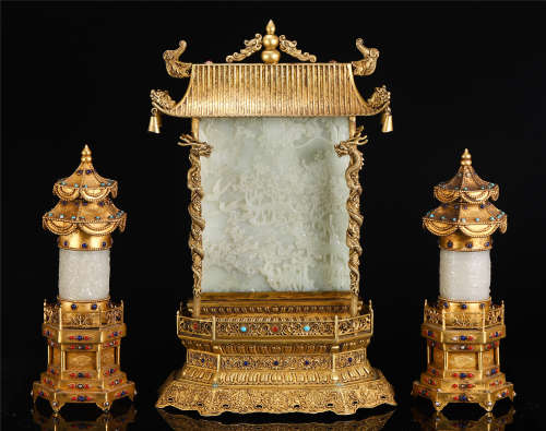 A SET OF CHINESE GILT BRONZE INLAID JADE CARVED TABLE ITEM