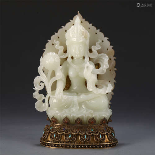 CHINESE JADE CARVED STANDING GUANYIN ON GILT BRONZE STAND