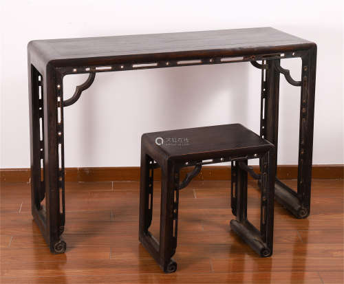 CHINESE ROSEWOOD CARVED GUQIN TABLE AND STOOL
