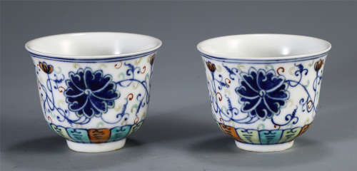 PAIR OF CHINESE DOUCAI PORCELAIN FLOWER CUPS