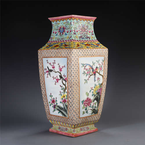 CHINESE ENAMEL SQUARE VASE ORNAMENT WITH MAGPIES PLUM FLOWER
