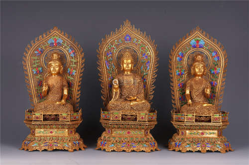 SET OF CHINESE GILT SILVER FILIGREE PAST PRESENT FUTURE BUDDHA SEATED STATUE