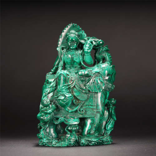 A CHINESE MALACHITE ROCK SAMANTABHADRA BODHISATTVA TABLE ITEM