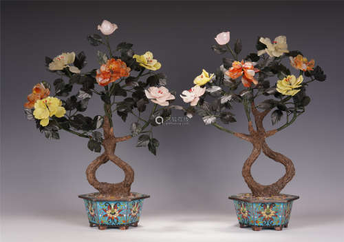 A PAIR OF CHINESE CLOISONNE ENAMEL BAIBAO FLOWER ENAMEL POTTED LANDSCAPE
