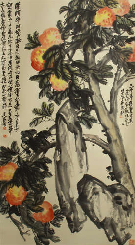A CHINESE VERTICAL SCROLL OF PAINTING PEACH BY WU CHUANGSHUO