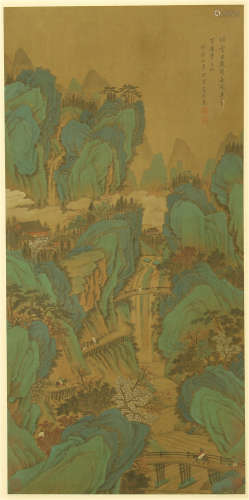 A CHINESE VERTICAL SCROLL OF PAINTING MOUNTAIN BY DONG BANGDA