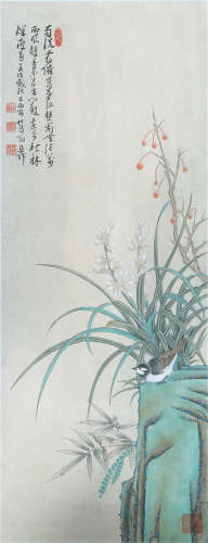 A CHINESE SCROLL OF PAINTING ORCHID AND STONE BY XIE ZHILIU