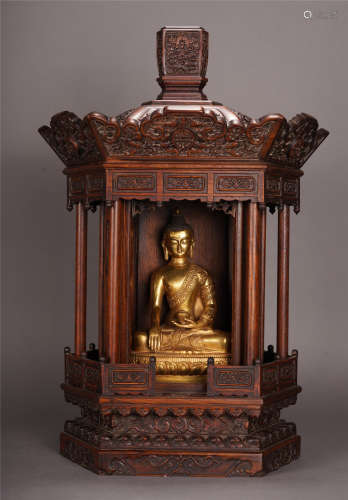 GILT BRONZE SAKYAMUNI BUDDHA SEATED STATUE IN ROSEWOOD NICHE