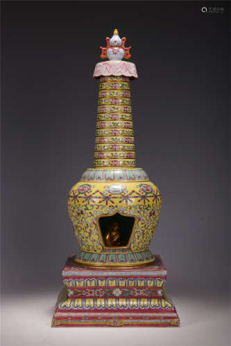 A CHINESE YELLOW BOTTOM FAMILLE ROSE TWISTED BRANCH LOTUS PATTERN BUDDHIST NICHE TOWER