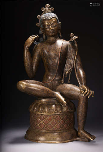 NEPAL UNRESTRAINED LOKEVARA BUDDHA SEATED STATUE