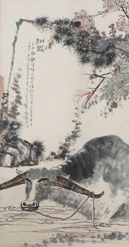 A CHINESE SCROLL PAINTING OF BUFFALO BY PAN TIANSHOU