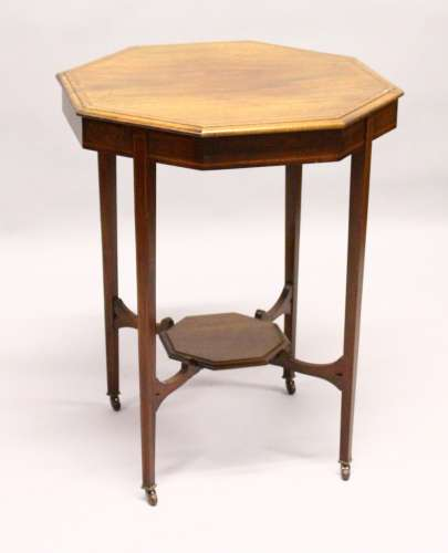 AN EDWARDIAN INLAID MAHOGANY OCTAGONAL CENTRE TABLE. 2ft 0ins wide x 2ft 6ins high.