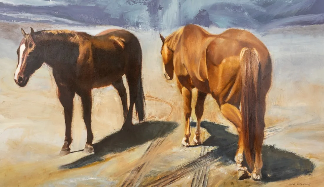 Luke Stavrowsky B 1963 Western Horse Oil Painting Deal Price Picture
